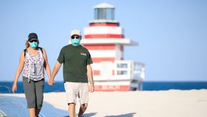 beach with masks